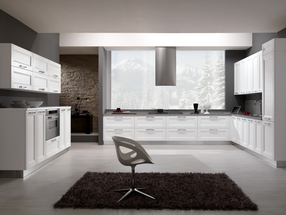 Model Merano - White ash wood modern kitchen | Spar