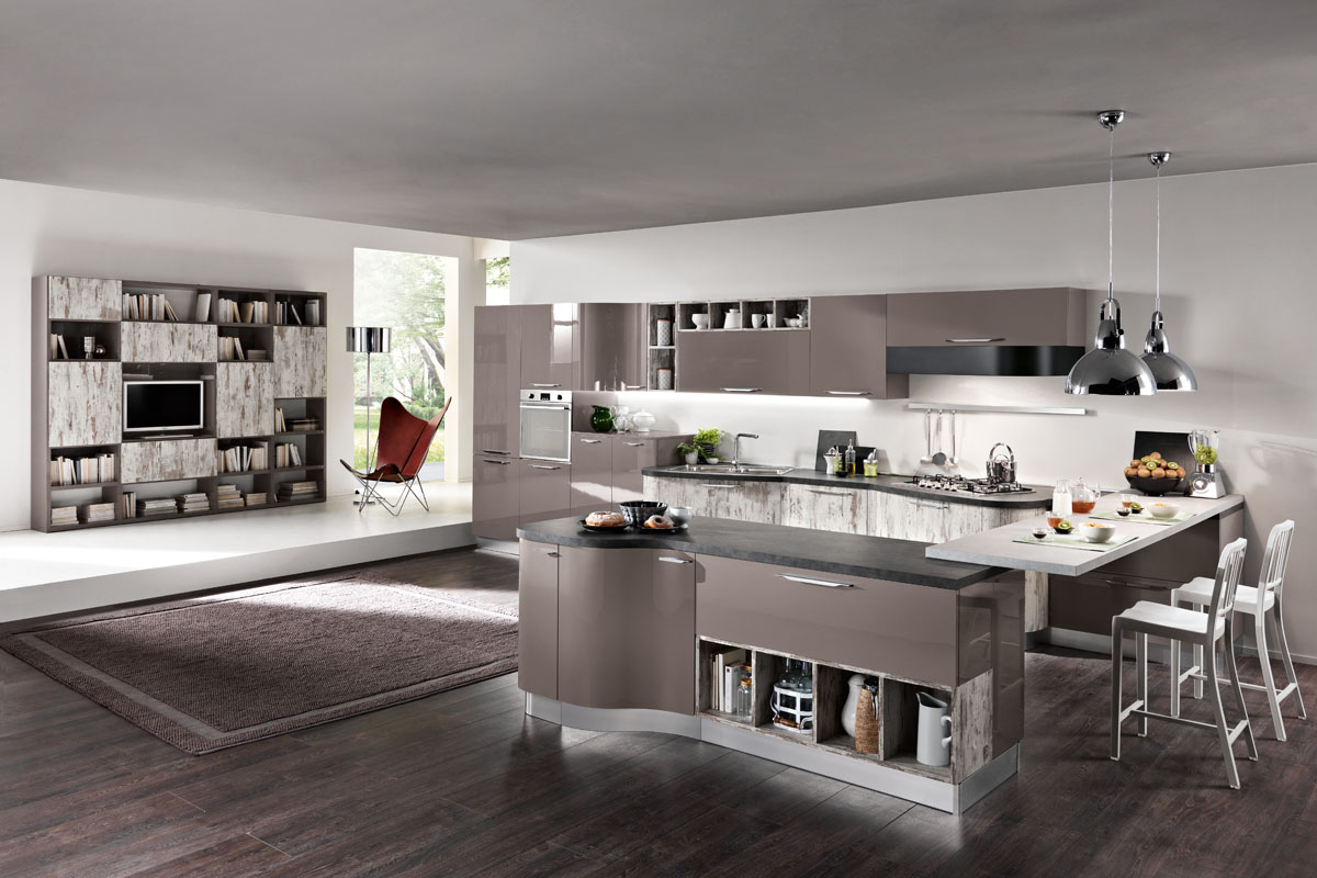 Cucina componibile moderna cucina miami spar for Prezzi cucine con penisola