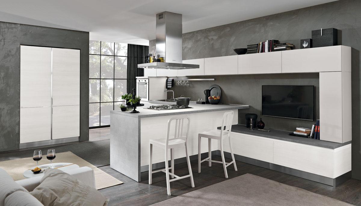 Cucina moderna bicolore minimal cucina tokyo spar for Piani di cucina con isola e camminare in dispensa