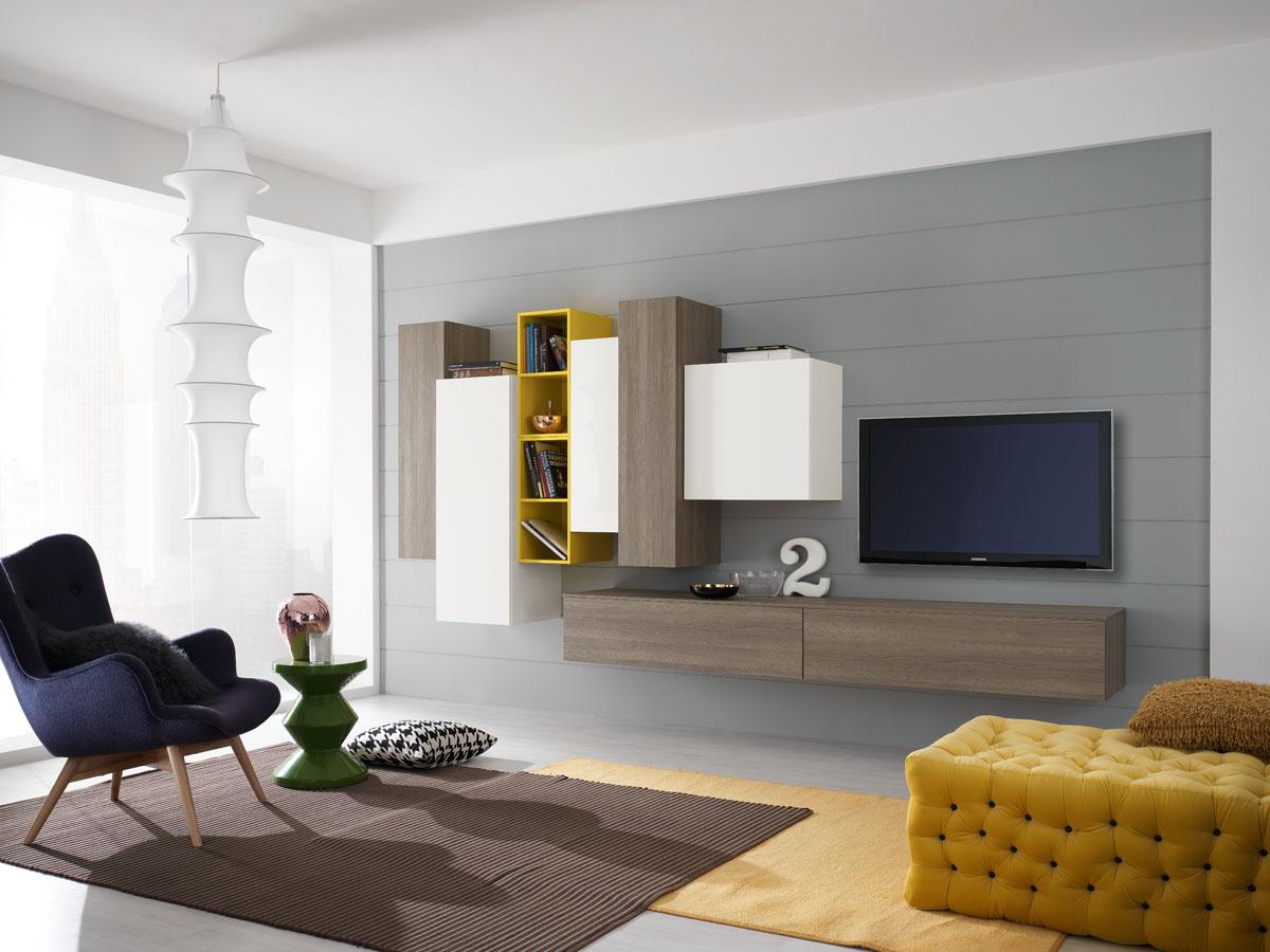 Arredamento soggiorno moderno modello exential spar - Immagini parete attrezzata ...