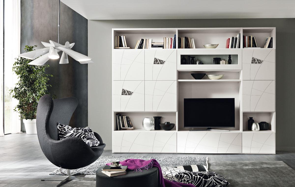 Arredamento soggiorno moderno modello lapis spar for Parete decorata moderna