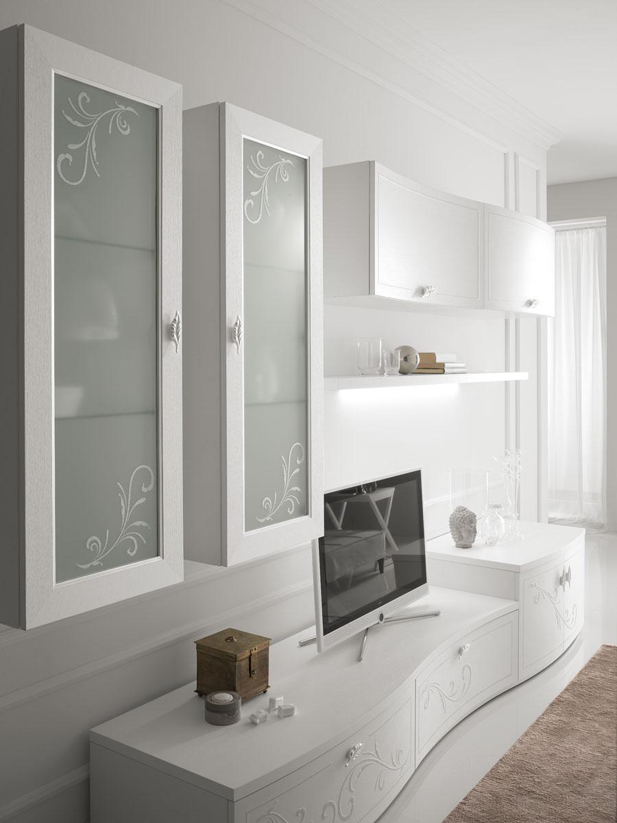 Arredamento soggiorno classico modello prestige spar for Mensola laccata bianca